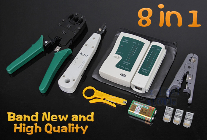 lan network cable tester crimper punch down tool stripper kit cat5 cat6 rj45 ebay. Black Bedroom Furniture Sets. Home Design Ideas